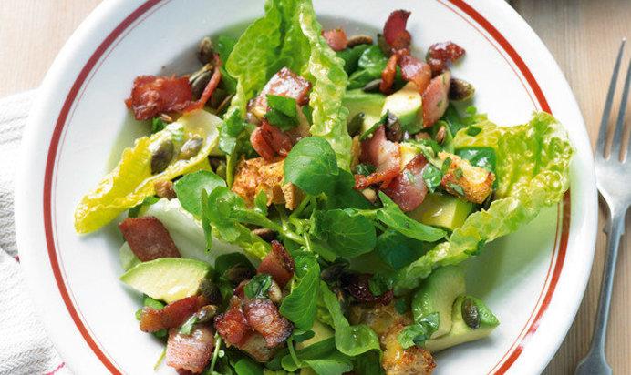 Салат с авокадо и беконом рецепты