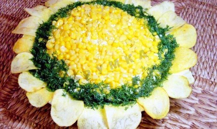 салат подсолнух с печенью трески фотографиями