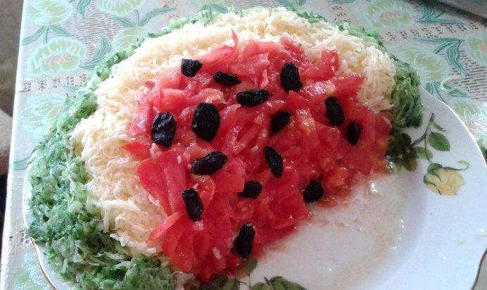 салат арбузная долька пошаговое фото