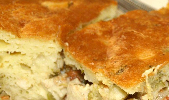 Пирог с мясом курицы с пошаговым