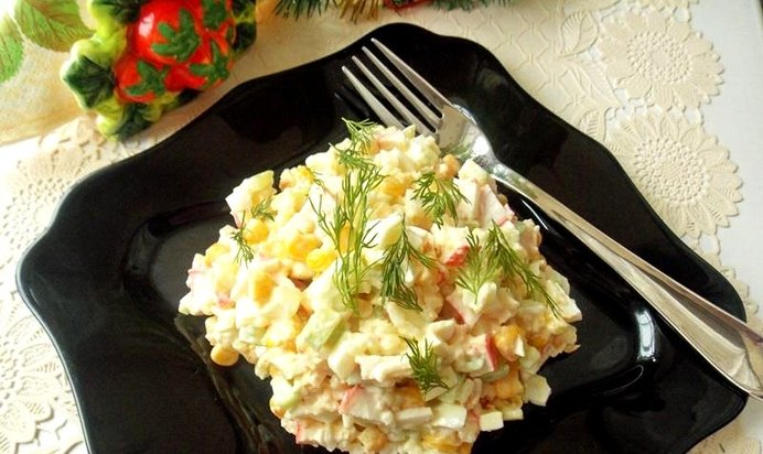 Вкусные легкие салаты из крабовых палочек рецепты с