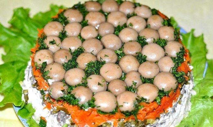 Рецепты салатов пошагово грибная поляна