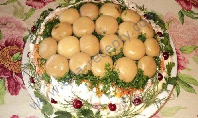 Салат лесная поляна рецепт пошагово с корейской морковью и
