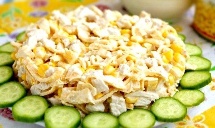 Салат с курицей и яичными блинами рецепт с пошагово