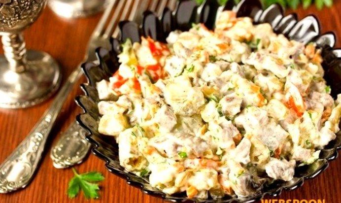 Салат с языком и грибами рецепты пошагово