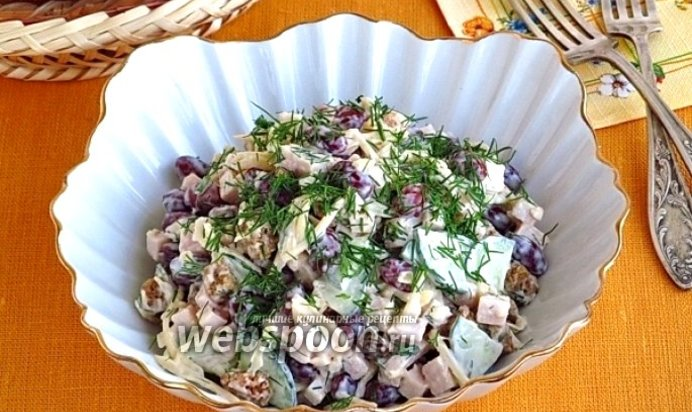 Салат с ветчиной и сухариками рецепт пошаговый