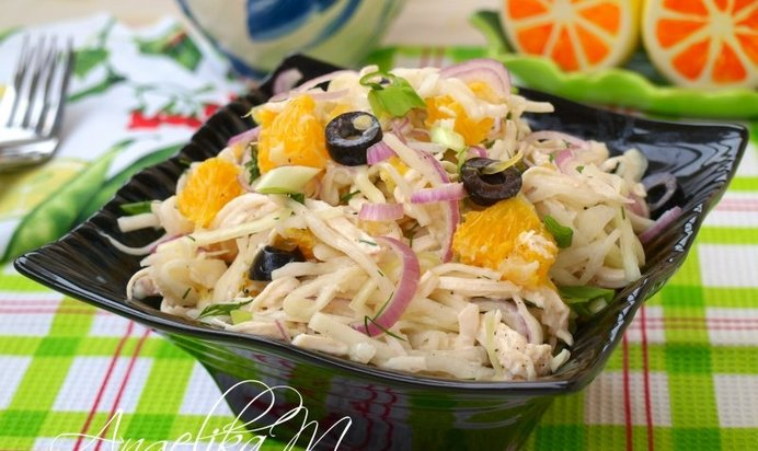Салат из курицы и апельсинов рецепт пошагово