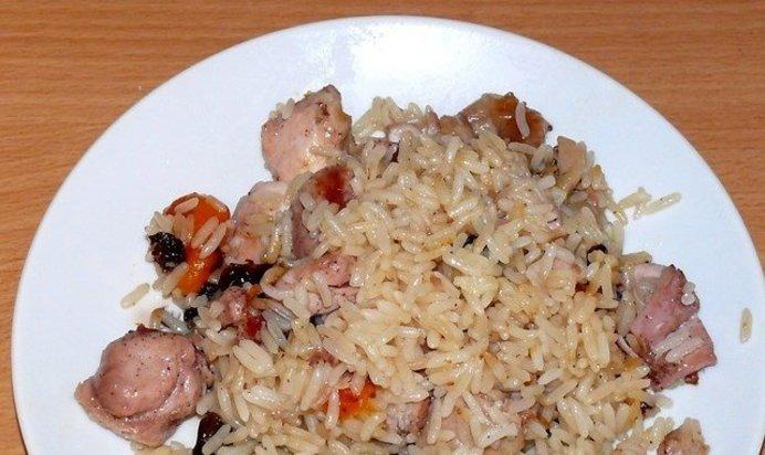 Плов с курицей и черносливом рецепт с пошагово