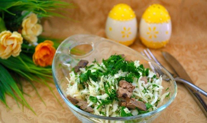 Салат из печени с капустой рецепт с