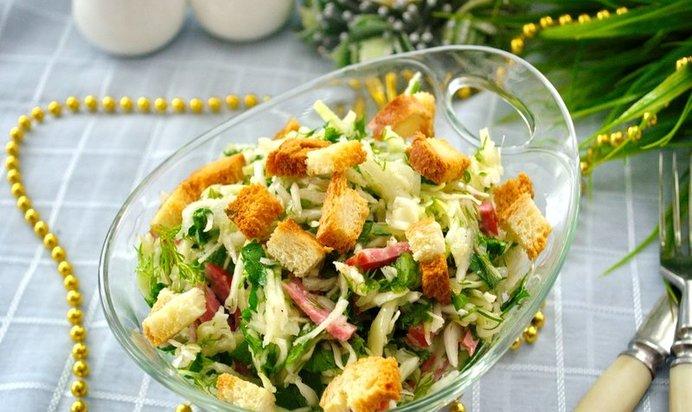 Салаты с салями и сухариками рецепты