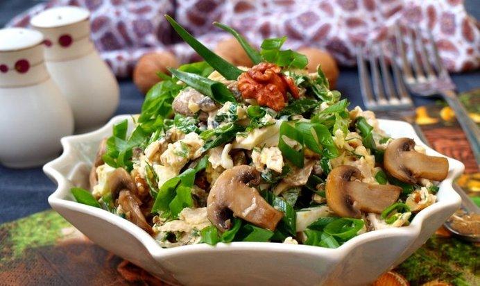 Рецепт салата с курицей шампиньонами