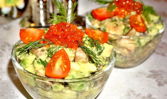 Рецепты салатов с икрой фото
