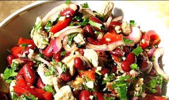 Вкусный салат с мясом и фасолью рецепт с
