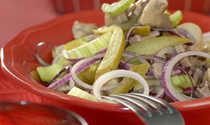Салат из языка с грибами рецепт с