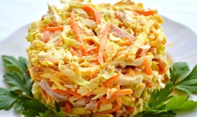 Рецепты салатов с корейской морковью и ветчиной