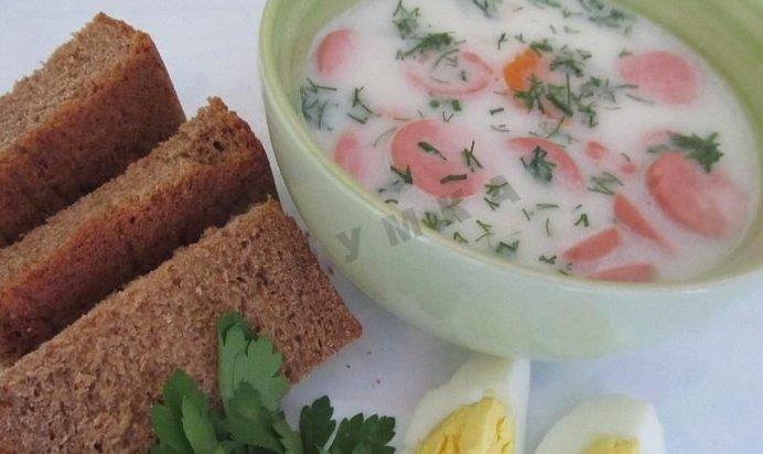 Суп с плавленным сыром с колбасой с фото