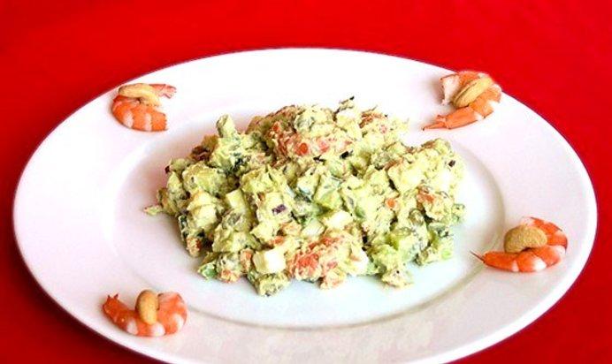 Рецепт салата оливье с креветками с