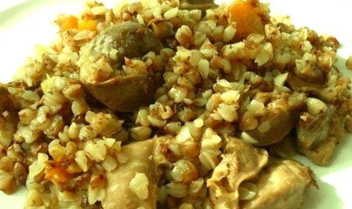 Куриные желудки с гречкой рецепт с фото