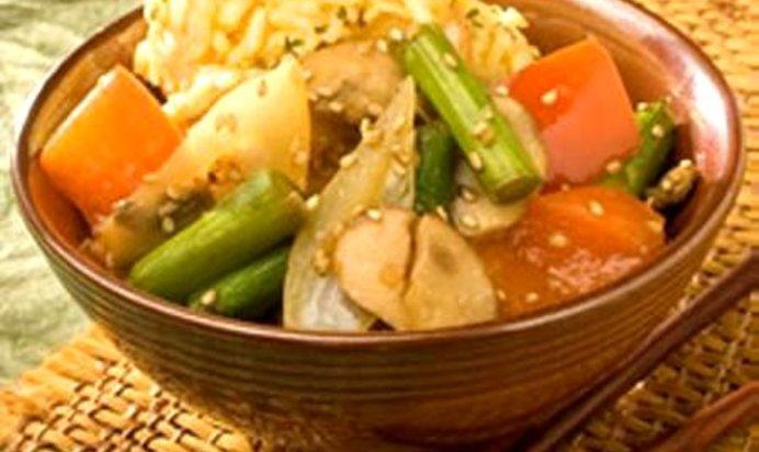Жареный рис овощами рецепт фото