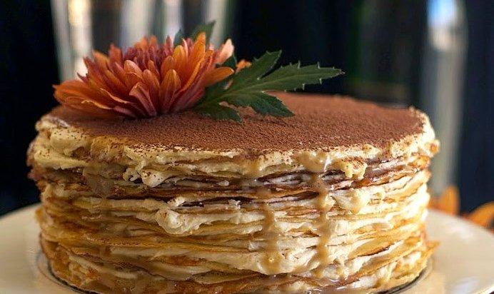 Рецепт блинного торта с маскарпоне