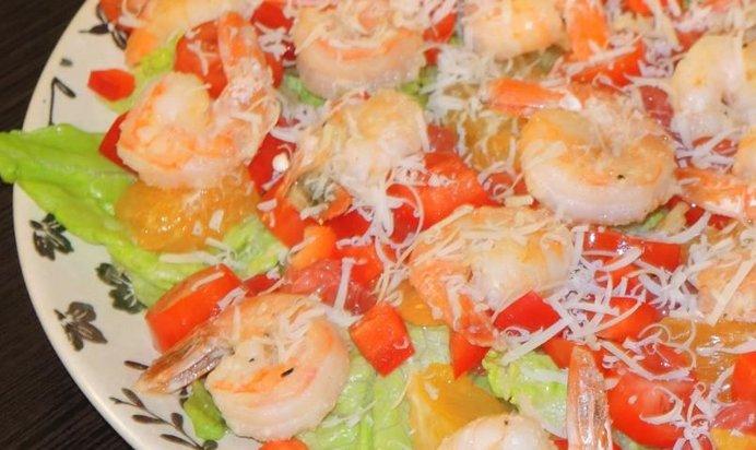 Простые рецепты салатов с креветками с пошагово в