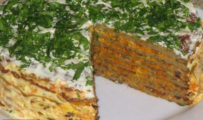 Печёночный торт рецепт готовим дома без майонеза
