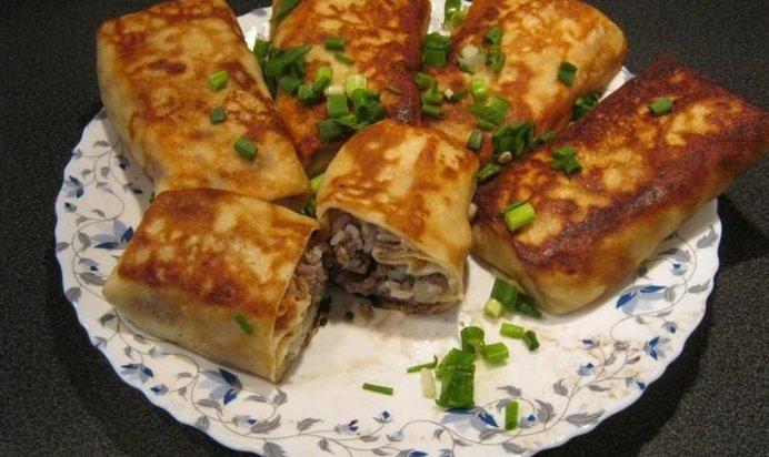 Блинчики на молоке тонкие с мясом рецепт пошагово