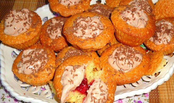 Вкусные кексы начинкой рецепт с фото