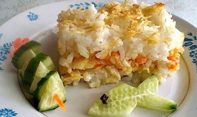 Запеканка из рыбы с рисом с фото