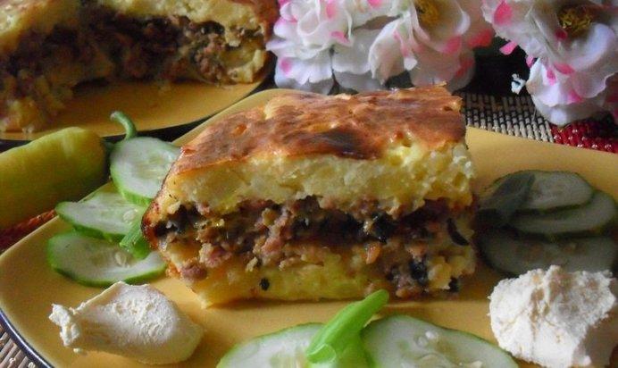 Запеканка картофельная с фаршем и шампиньонами в духовке