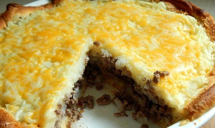 Заливной пирог с фаршем и картошкой рецепт в духовке
