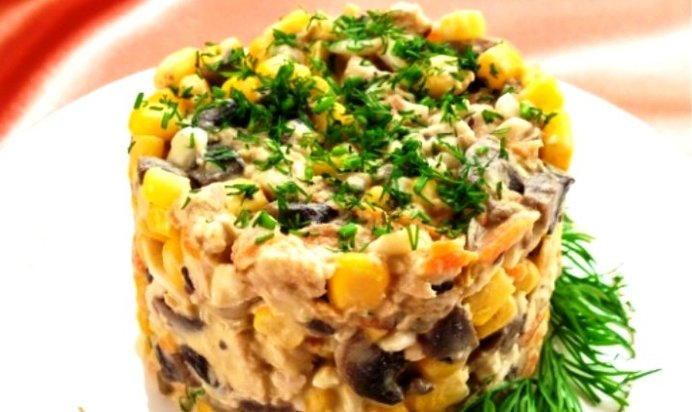 Рецепт салат с грибами и кукурузой
