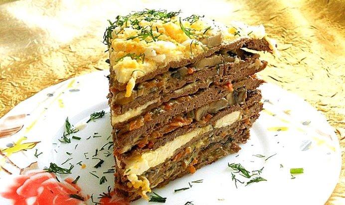 Торт печеночный с грибами рецепт