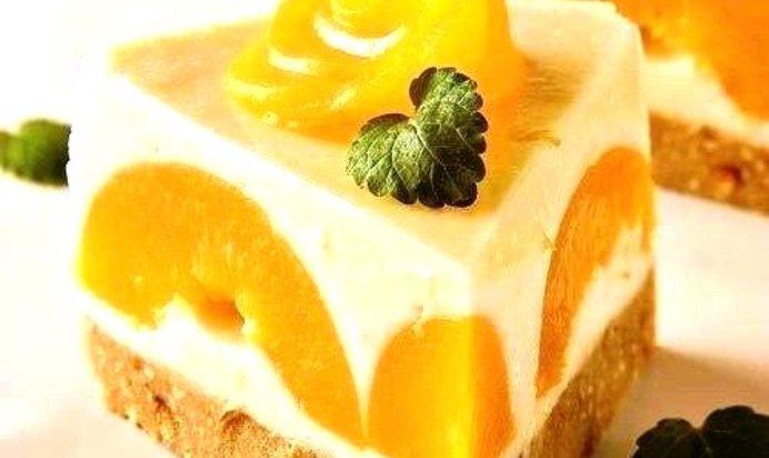 Йогуртовый торт с персиками рецепт с пошаговым