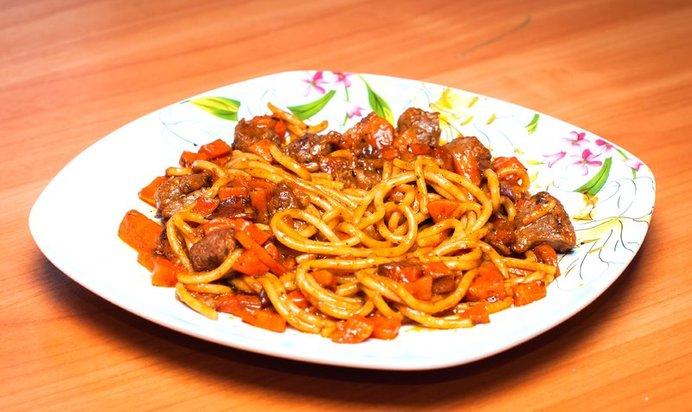 Спагетти со свининой рецепт с фото