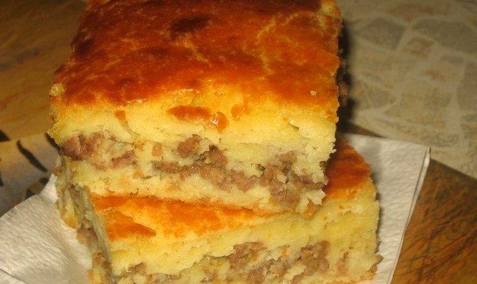 Заливной пирог на кефире с мясным фаршем
