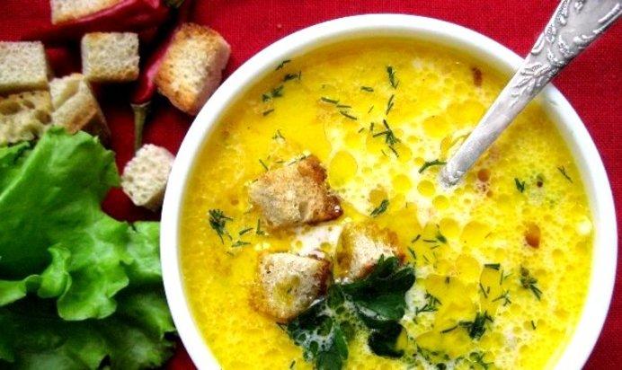 Суп из плавленных сырков с сухариками рецепт